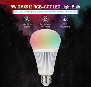 Mi-Light LED žárovka DMX512 | RGB+CCT | 9W | E27 |